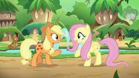 Applejack and Fluttershy talking in unison S8E23