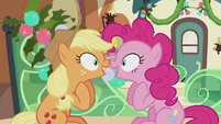 Applejack and Pinkie -I was gonna say that!- S5E20