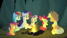 Big sisters and little sisters around the campfire S7E16.png
