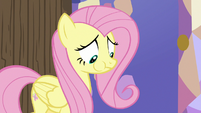 Fluttershy uncomfortably eating Twilight and Spike's food S7E20