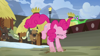 Pinkie Pie stomping alongside the yaks S7E11