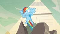 Rainbow Dash squishing her cheeks S7E18