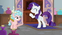 Rarity hugging her crates S8E16