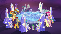 Star Swirl tells the ponies to prepare for battle S7E26