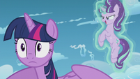 Starlight appears behind Twilight to gloat S5E25
