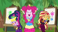 Twi, Pinkie, and Sunset splattered with paint EGSBP