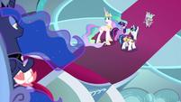 Twilight, Celestia, and Shining look at Luna S9E4