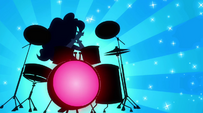 Abstract Pinkie Pie clapping her hands at drumset EG2