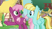 Cheerilee pointing at Princess Ember S7E15