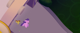 Clear Skies and Pegasus flying over Spike MLPTM
