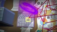 Friendship Games sticky note on Sci-Twi's calendar EG3