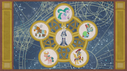 Illustration of Pillars of Old Equestria in five-point circle S7E25.png