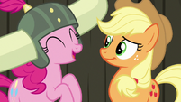 Pinkie Pie laughing at Applejack S7E11