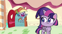 Rainbow happily greets her friends PLS1E2a
