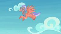 Sky Beak's opponent flying in the sky S8E6