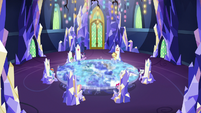 Distance view of Mane Seven in throne room S8E21