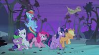 Flutterbat flying past ponies S4E07