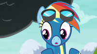 Rainbow looking down at Scootaloo S6E7