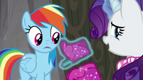 Rainbow surprised by Rarity's stiletto boot S8E17