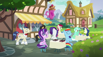 Starlight, Dash, and Rarity at Ponyville Cafe S8E17