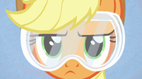 Applejack wearing safety goggles S6E10