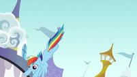 Rainbow Dash flies down to the ground S9E24