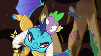 Spike and Ember swerve past rock spikes S6E5