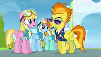 Spitfire telling pink pegasus to go first S3E7