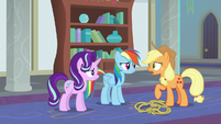 "Applejack ""supposed to be learnin' friendship"" S8E1"