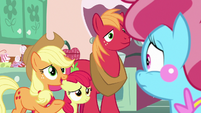Applejack asks Mrs. Cake about Pear Butter S7E13