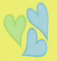 Three hearts; two blue, one green