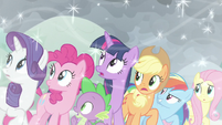 Mane Six and Spike hear something S9E25