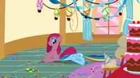 Pinkie Pie sitting on Rainbow Dash S01E25