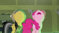 Pinkie and Daring Do look up at the skylight S7E18