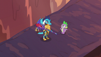 Spike --just doing this to protect the ponies-- S6E5