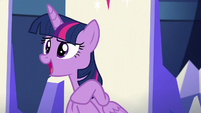 Twilight about to say something but is interrupted by Pinkie S5E19