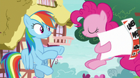 Pinkie takes flyer from Rainbow Dash S8E20
