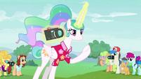 Princess Celestia levitating a camera S9E13