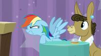 Rainbow glares and sneers at Applejack S9E16