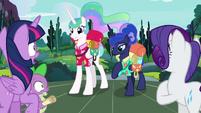 Twilight, Spike, and Rarity gasp at princesses S9E13