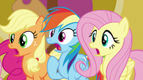 AJ, Dash, and Fluttershy gasping S8E24
