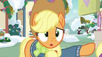 Applejack pushing Fluttershy's hoof away MLPBGE