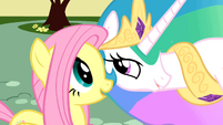Fluttershy and Celestia --rather melodramatic-- S01E22