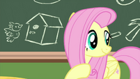 Fluttershy gesturing over to Angel MLPS3