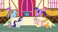 Main ponies and Spike proud of themselves S8E18