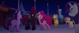 Pinkie leans her ear toward Tempest Shadow MLPTM