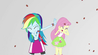 Rainbow and Fluttershy rained on by chocolate almonds EGS3