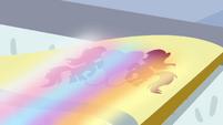 Rainbow shining on flag S4E10