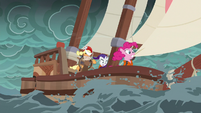 The ponies' ship rocks uneasily in the storm S6E22