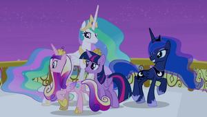 Celestia, Luna, and Cadance circling around Twilight S4E25.png